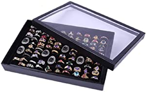 Xiaomei Jewelry Rings Display Tray Velvet 100 Slot Case Box Jewelry Storage Box Suitable for Domestic Retail/Commercial Use Jewelry Show & Home ~ Jewelry Tray Organizer (Black)