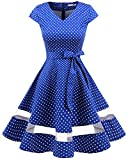 Gardenwed Women's Vintage 1950s Retro Rockabilly Swing Dress Cocktail Dress with Sleeves Royal Blue Small White Dot 3XL