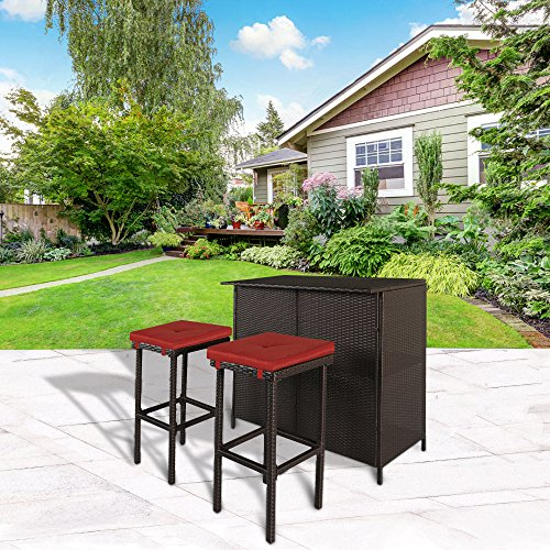 Cloud Mountain 3 PC Patio Bar Set Outdoor Garden Backyard Rattan Bar Table 2 Stools Barstool Furniture Set, Brick Red Cushion (Bar Outdoor Furniture Patio)
