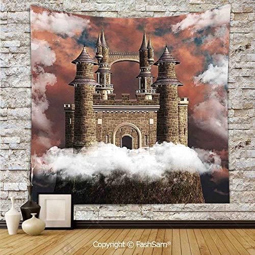 (Tapestry Wall Blanket Wall Decor Fairy Magic Castle on The Hill Middle Age Tales Unusual Facts in Graphic Art Home Decorations for)