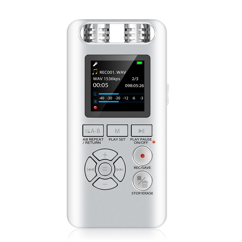Aomago Digital Voice Recorder 8GB - A19 Digital Recorder for Meetings, Lectures, Interviews, Portable Digital Recorder Voice Activated Sound Sound Audio Recording Device (Silver)