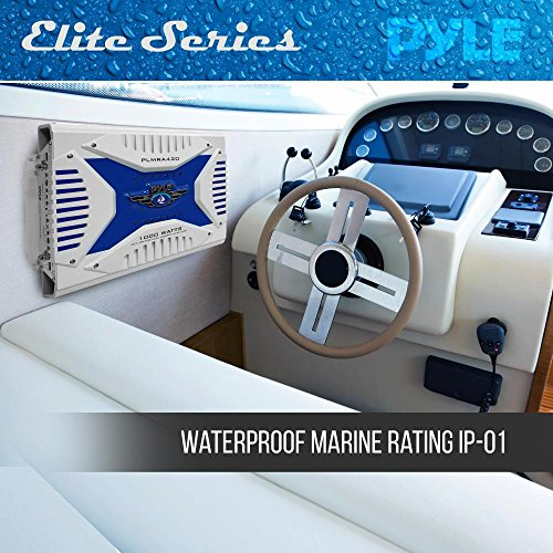 Pyle Hydra Marine Amplifier - Upgraded Elite Series 1000 Watt 4 Channel Bridgeable Amp Tri-Mode Configurable, Waterproof, MOSFET Power Supply, GAIN Level Controls and RCA Stereo Input(PLMRA420)
