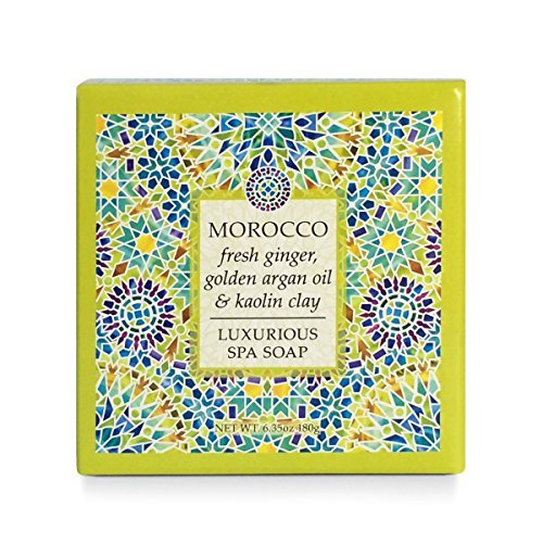 Greenwich Bay Morocco Luxurious Argan Oil Spa Soap Enriched w/ Shea Butter, Cocoa Butter, Golden Argan Oil, Fresh Ginger, and Kaolin Clay 6.35 oz Destination Round Vegetable Bar Soap -