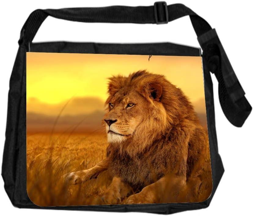 Animal Lion Sunset Cross Body Shoulder Messenger Laptop Bag