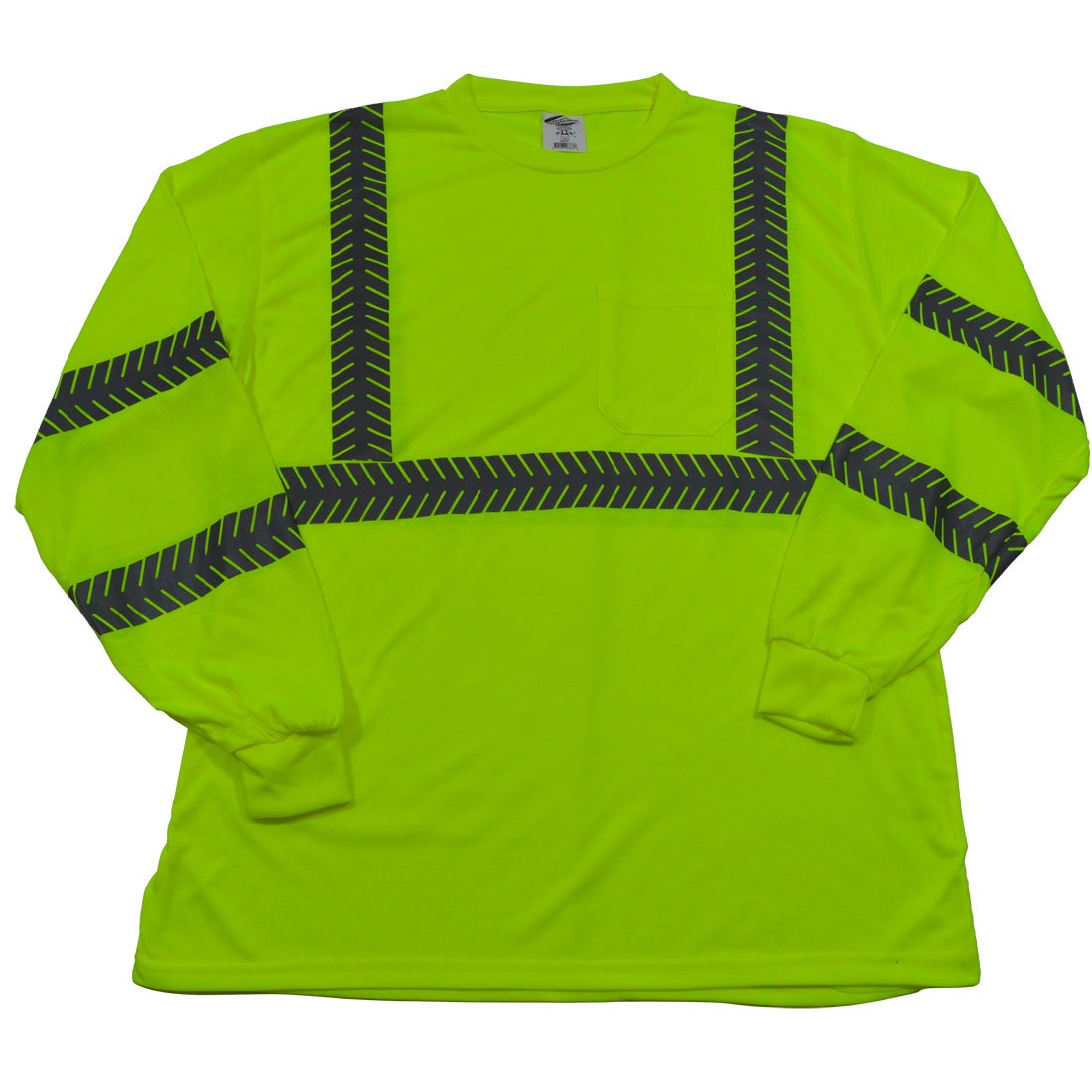 Petra Roc L JTSL3-XL ANSI Class 3 High-Vis Safety T-Shirt Long Sleeve, Jersey Knit with Segmented Reflective Tape and One Chest Pocket, XL, Lime
