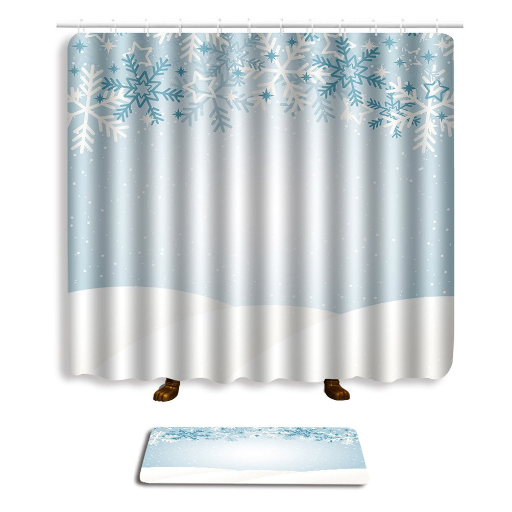 Bathroom Sets Shower Curtain Hooks Shower Rugs Polyester Fabric Marriage Gifts for Men and Women (four)
