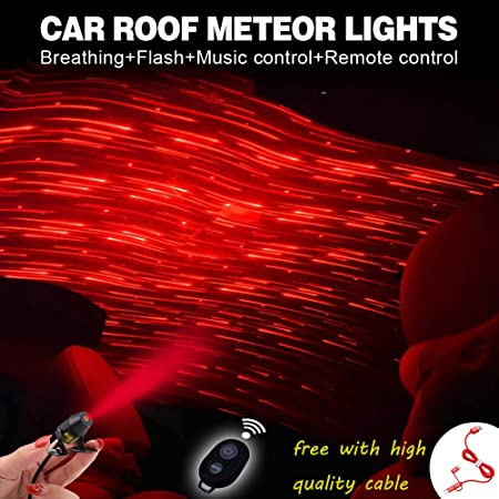 img buy Romantic Auto Roof Star Lights-Red Meteor Shower Lights,The Romantic Lighting Environment Multiple Modes Lights for car/Home/Party -No Need to Install (Red-Meteor Shower)
