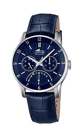 Lotus 18216/2 - Reloj de Pulsera Hombre, Cuero, Color Azul: Amazon.es: Relojes