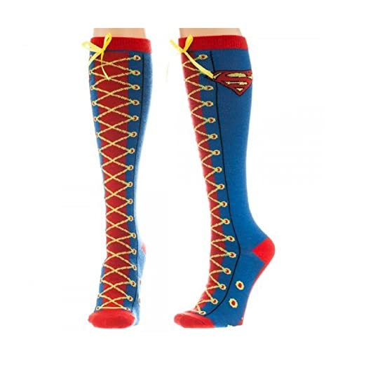 3ed8ffc718e Amazon.com  DC Comics Superman Faux Lace Up Juniors Knee High Socks ...