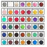 Mica [42 Colors 5gram/0.17ounze each] Mica powder for Soap Making Dye Kit,Powdered Pigments Set,Bath Bomb Dye Colorant,Makeup Dye Resin dye,Eye shadow, Blush,Nail art,Resin jewelry,Artist,Craft,Cards