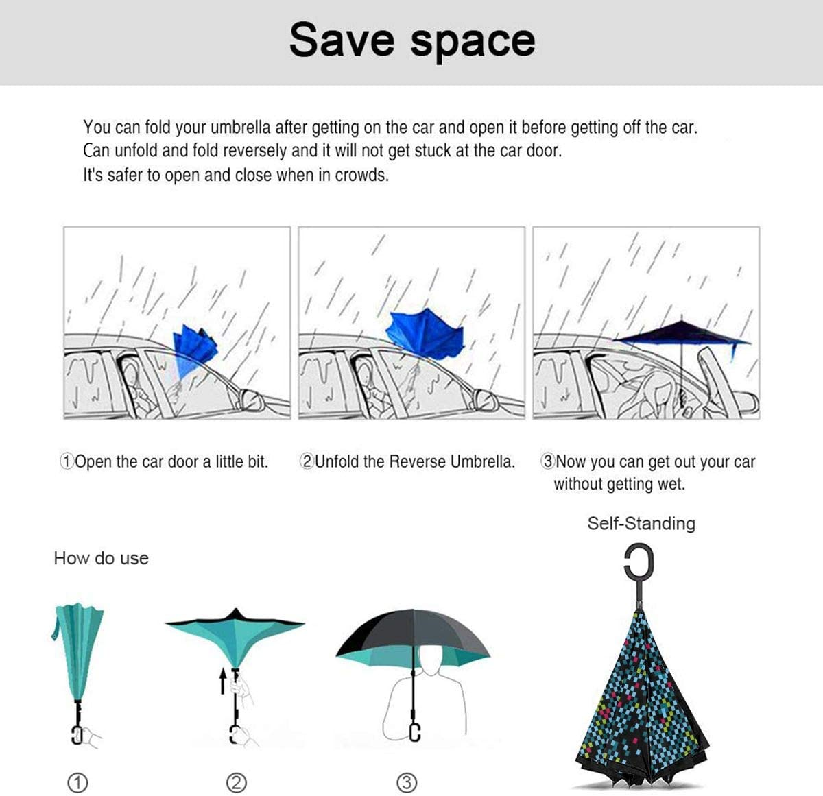 PYFXSALA Absract Blue Dots Windproof Inverted Umbrella Double Layer UV Protection Folding Reverse Umbrella for Car Rain Outdoor Self Stand Upside Down with C-Shaped Handle