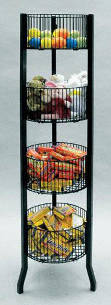 Impulse Display Dump Bin Basket 4-Tier Level Round 12'' Diameter Black Floor StandingNEW