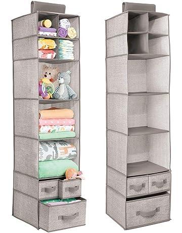 000cb39d0 mDesign Organizadores de armarios colgantes - Juego de 2 estanterías de  tela con baldas y cajones