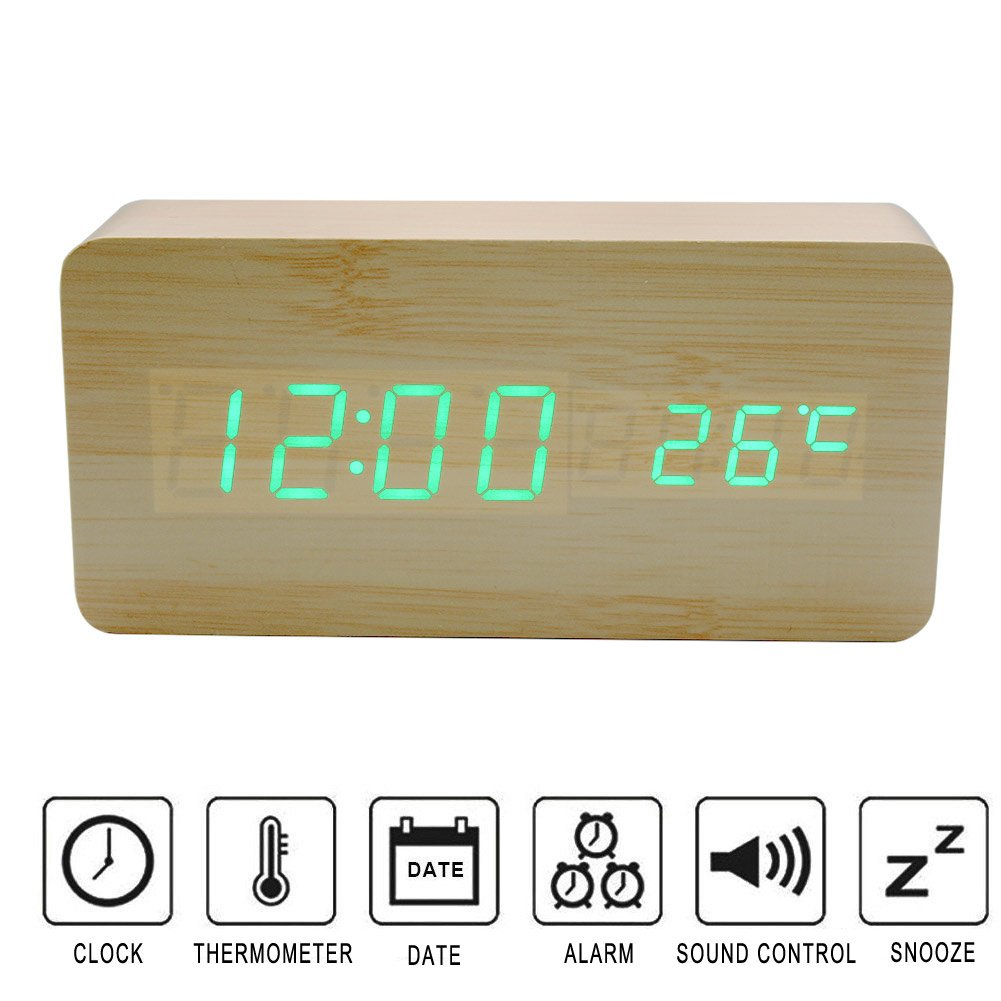 Wood LED Digital Alarm Clock,Colisivan Upgrade Wooden Alarm Clock,Table Clock with Voice Control,Time,Temperature Display, Adjustable Brightness, 3 Set of Alarm