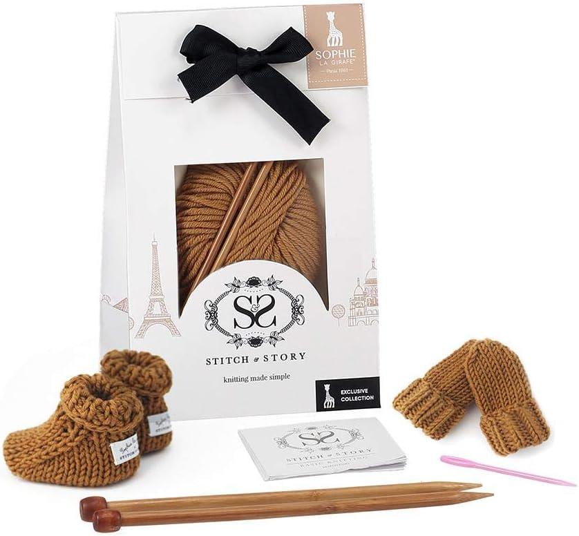 Stitch /& Story Sophie La Giraffe Mini Mittens and Booties Knitting Kit Set Natural White 0-12 Months