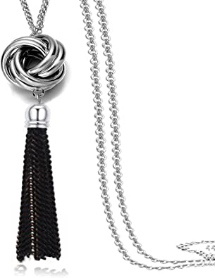 Textured Silver Tassel Pendant 925 Silver Jewellery Gift for Her Modern Pendant Sterling Silver Circle Tassel Necklace