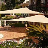 Shade&Beyond 2 Pcs 12'x12'x12' Sun Shade Sail Triangle Sand UV Block for Yard Patio Backyard