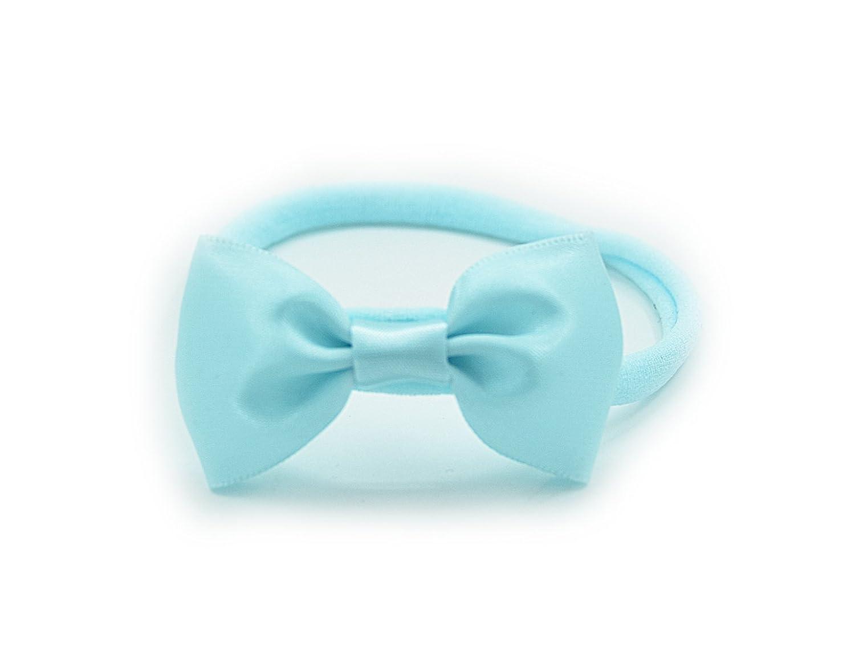 PrettyBoutique Baby Girls Satin Bow Soft Skinny Elastic Nylon Headband Hair Band Accessories