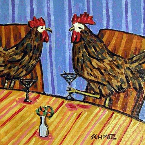 Chicken friends Hen Rooster at the Martini bar farm animal art tile coaster gift