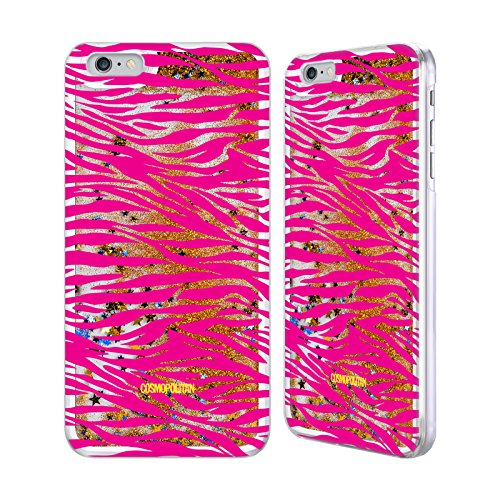Official Cosmopolitan Pink Zebra Animal Skin Patterns Gold Liquid Glitter Case Cover for Apple iPhone 6 Plus / 6s Plus