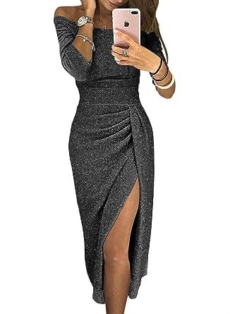 b954b90ad0b36 Womens Prom Dresses High Slit Off Shoulder Formal Elegant Fall African  Metaillic Sexy Night Black Evening