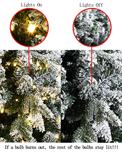 ABUSA Flocked Prelit Artificial Christmas Tree 7.5 ft Snowy Spruce with 700 LED Clear Lights 1452 Branch Tips by ABUSA (Image #7)