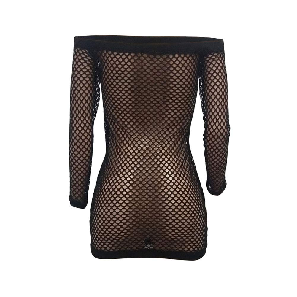 Ophestin Women Summer Mesh Cover Ups - Sexy Beach See Through Party Clubwear Dress Black