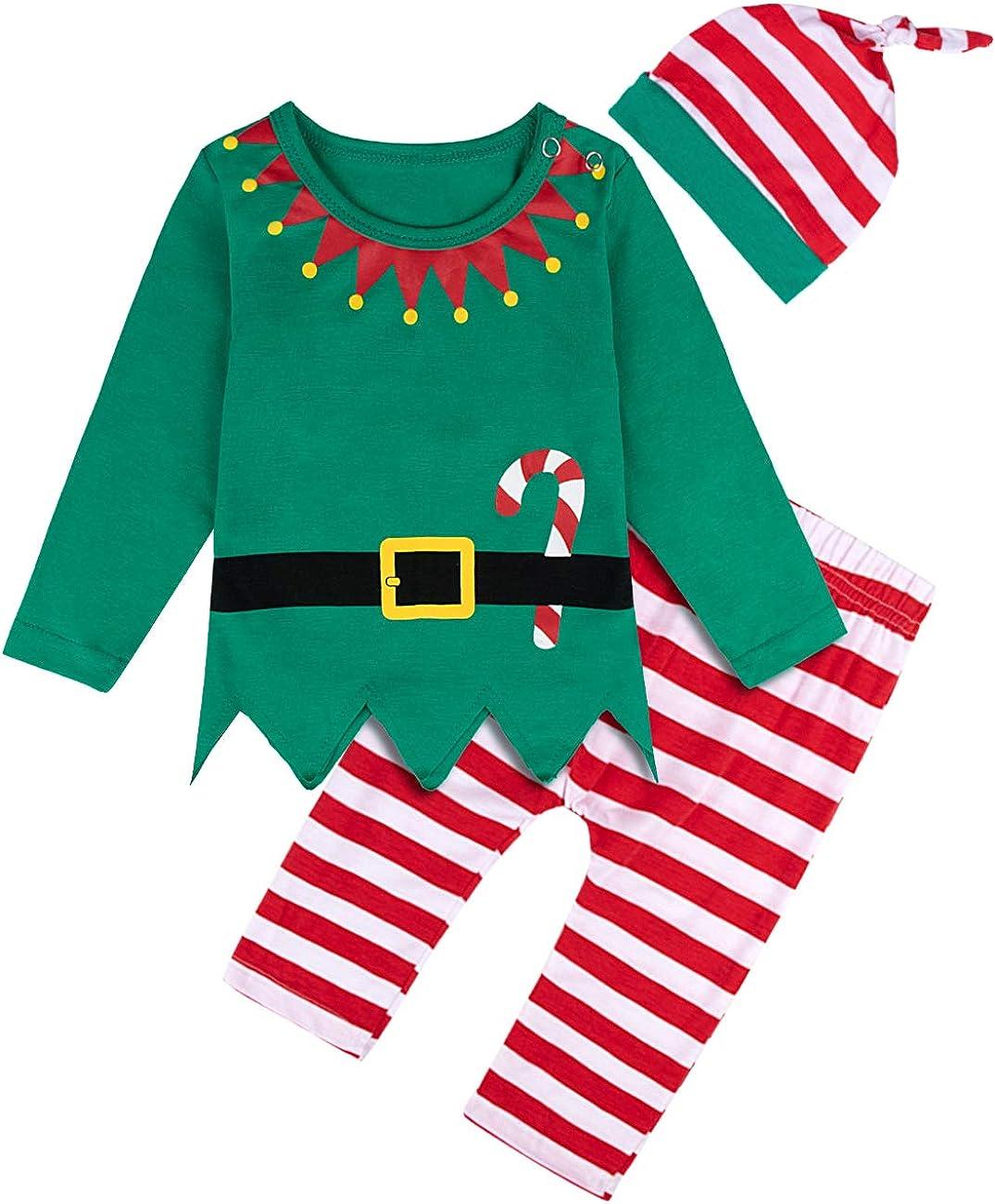 MOMBEBE COSLAND Baby Jungen M/ädchen Weihnachten Elf Kost/üm Pyjamas Set