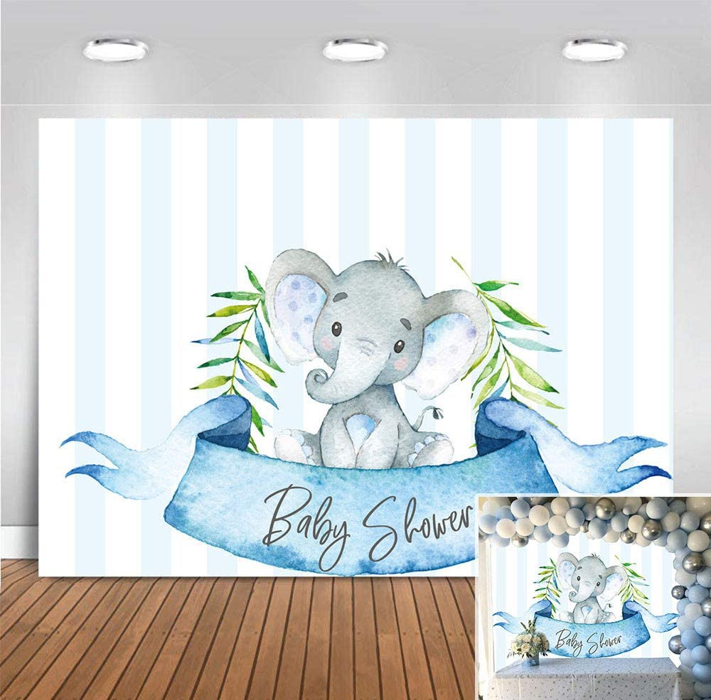 Blue Stripe Baby Shower for Boy Elephant Theme Photography Backdrop Decoration Vinyl Photo Background Infant Baby Boy Birthday Party Supplies Photo Booth Studio Props Banner Cake Table 5x3ft