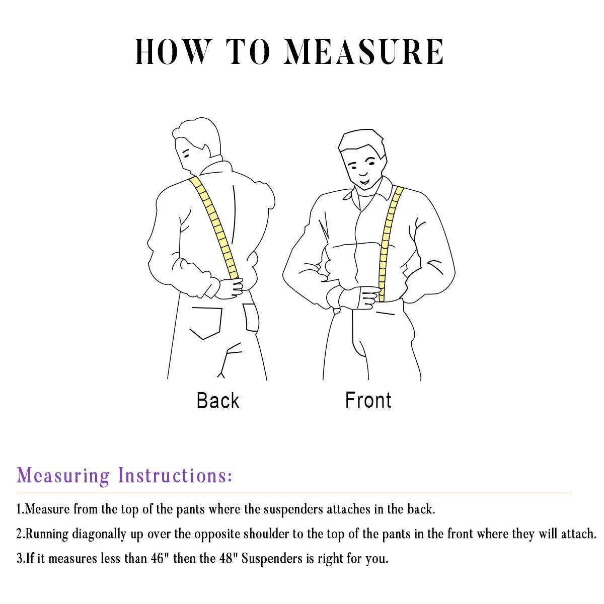 Mens X-Back Heavy Duty Work Suspenders 2'' Wide Adjustable Elastic Clip Suspenders 2pc(Black/Striped) by GradeCode (Image #6)