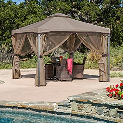 Great Deal Furniture Sonoma | Outdoor Fabric/Iron Gazebo Canopy | in Light Brown