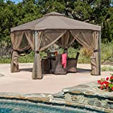 Sonoma Outdoor Iron Gazebo Canopy w/ Net Drapery (Light Brown)