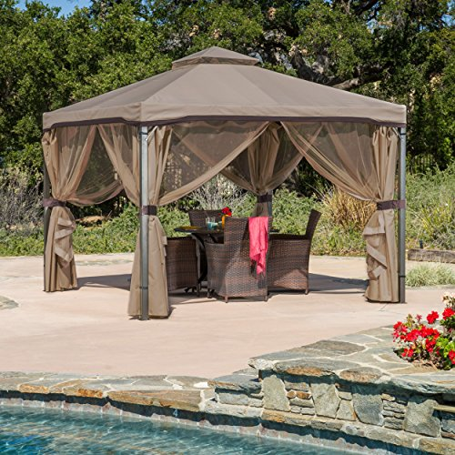 Great Deal Furniture Sonoma | Outdoor Fabric/Steel Gazebo Canopy | in Light (2 Piece Replacement Flap)