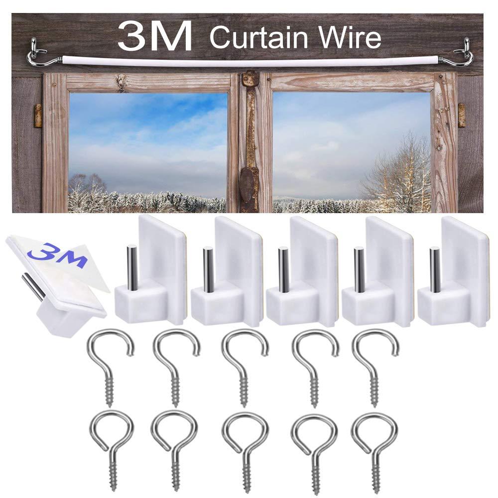 Net Curtain Wire Hanging Cord Kit 6 Pack Self-Adhesive Hooks Pairs 3Meter White