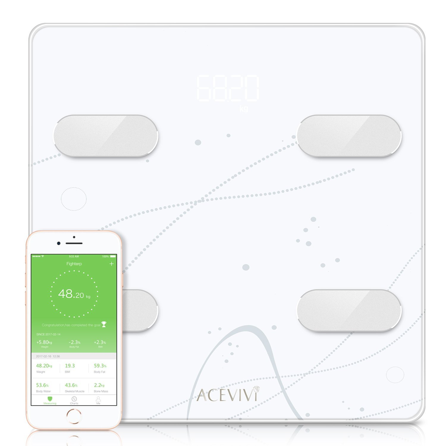 Bluetooth Body Fat Scale, Digital Bathroom Wireless Weight Scale, Smart BMI Scale Body Composition Analyzer Support Fitbit, Apple Health, Google Fit (white2)