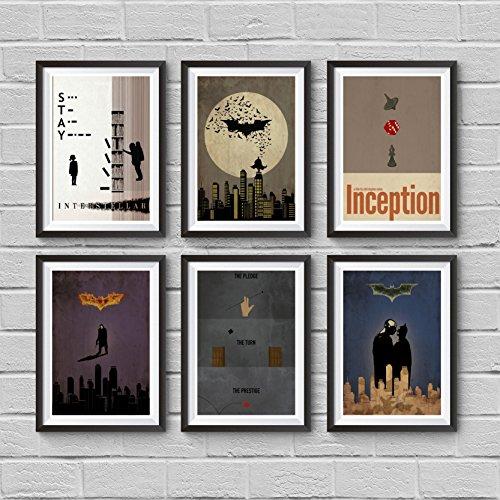 Christopher Nolan Minimalist Poster Set of 6 Films Interstellar Batman Begins The Dark Knight
