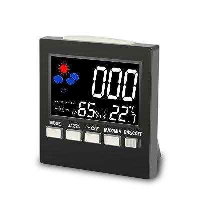 Reloj Despertador Calendario Digital LCD, BINKEN Termómetro Higrómetro Multifuncional con Patalla Colorida y Rretroiluminación,