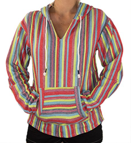MWS Mexican Baja Pullover Jerga Poncho Hoodie, Hooded Hippie Knit Beachwear Sweatshirt (Medium, Rainbow Stripes) Baja Braided Rug