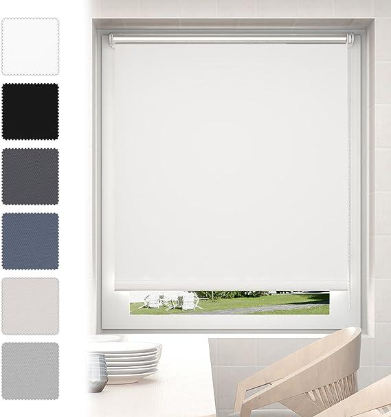 Estor Enrollable Opaco para Ventanas 60 x 170 cm Blanco, Cortinas ...