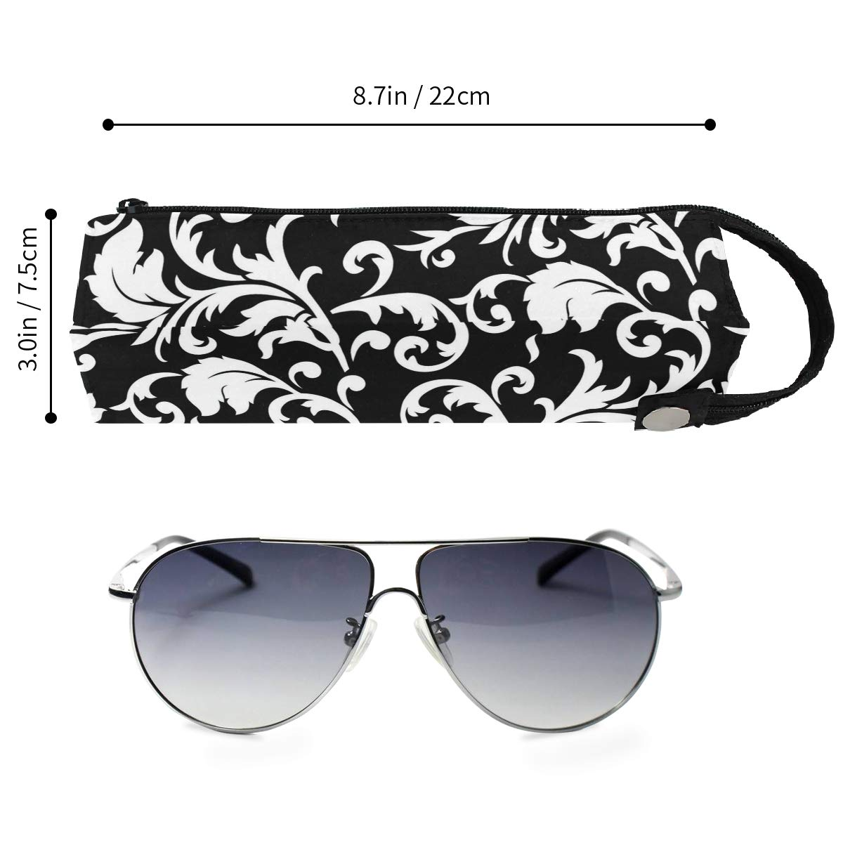 Glasses Case Purple Flower Clipart Butterfly Travel Soft Sunglasses Pen Bag Protective Holder
