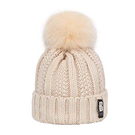 e9ad587eae8013 Image Unavailable. Image not available for. Color: Fashion Girl 'S Skullies  Beanies Winter Hats for Women Knitting Cap Hat Pompoms Ball Warm