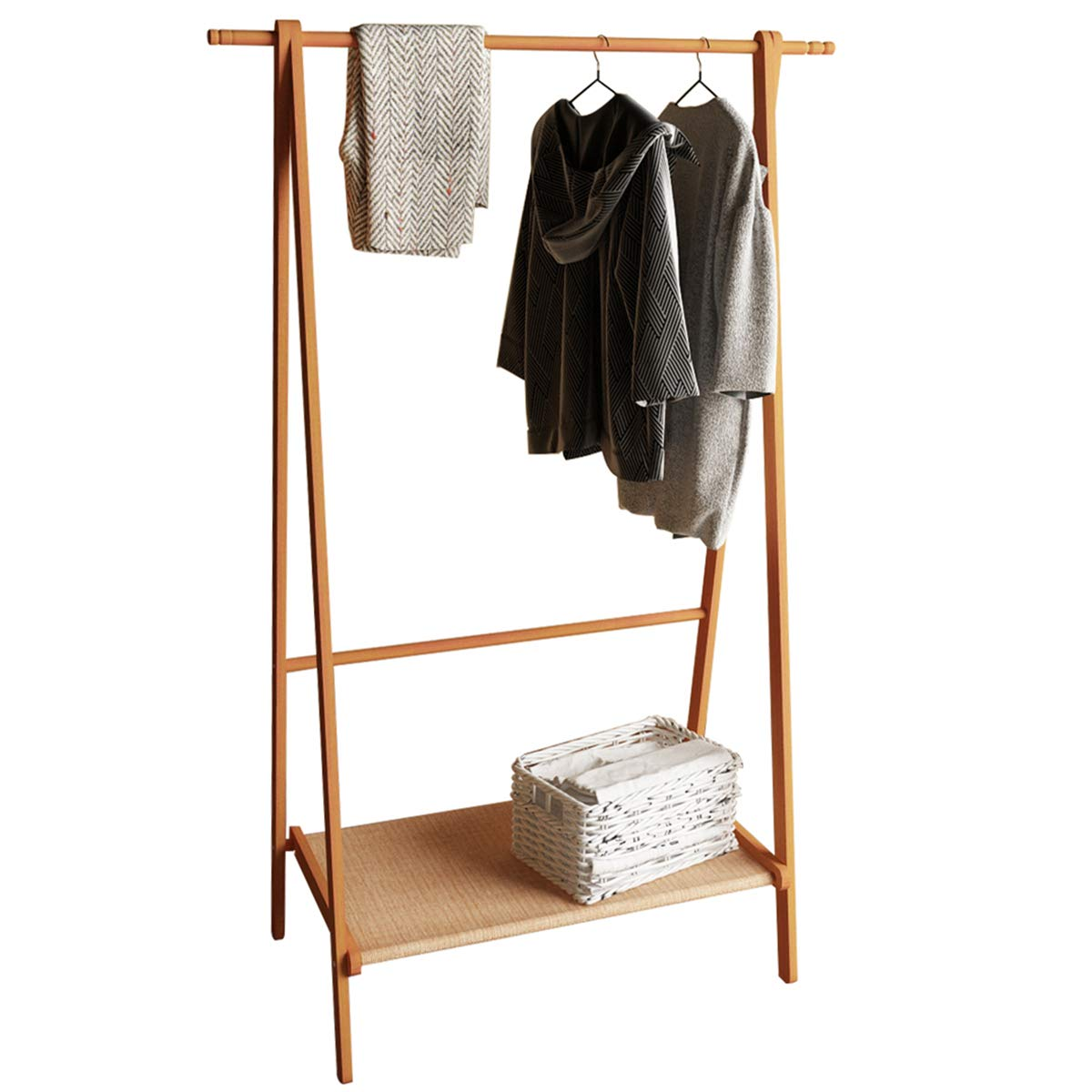 DlandHome Solid Wood Clothing Garment Rack, Entryway Free Standing Coat Stand Organizer Lower Storage Shelf Shoes Clothes, BS2001-HC Honey Color, 1 Pack