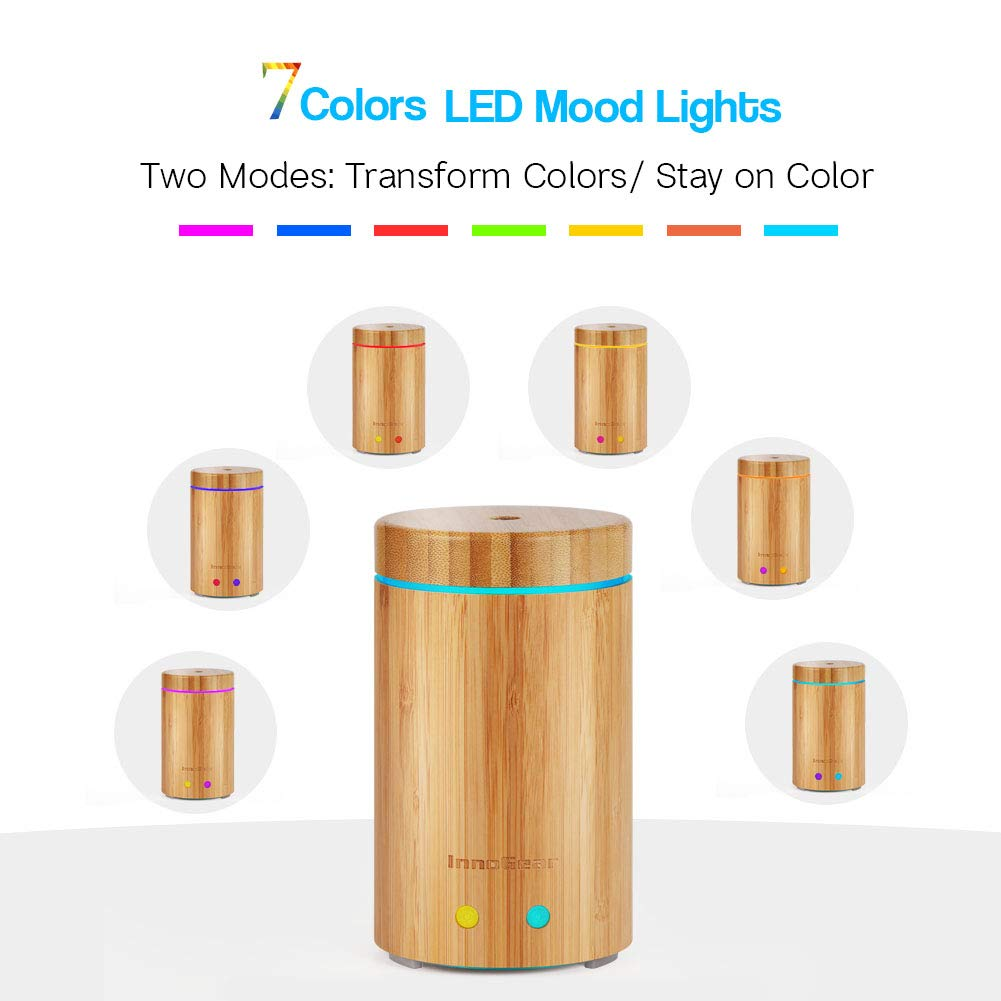 InnoGear Upgraded Real Bamboo Essential Oil Diffuser Ultrasonic Aroma Aromatherapy Diffusers Cool Mist Humidifier with Intermittent Continuous Mist 2 Working Modes Waterless Auto Off 7 Color LED Light by InnoGear (Image #4)