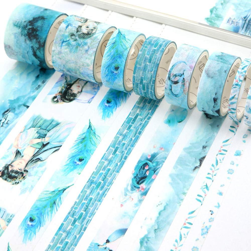 Cinta Adhesiva para Uso en el hogar Bricolaje TEEKOO Cinta Adhesiva para enmascarar Manualidades Papel de Regalo Pegatinas Decorativas para /álbumes de Recortes