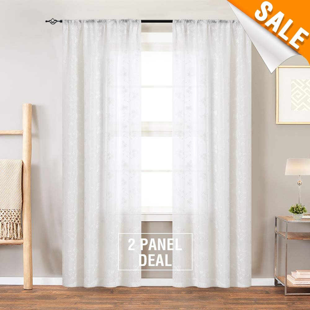 Lazzzy Tier Curtains Taupe Kitchen Cafe Floral Embroidered Sheer Window Curtain Set Voile Floral Drapes Rod Pocket Panel Pairs W26 x L36-Inch 1 Pair TOPICK