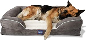 Laifug Orthopedic Memory Foam Dog Bed Lounge Sofa Durable Removable Cover with Free Waterproof Liner and Anti-Slip Bottom