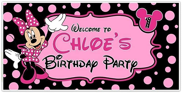 Amazon Com Minnie Mouse Birthday Banner Personalized Party Backdrop