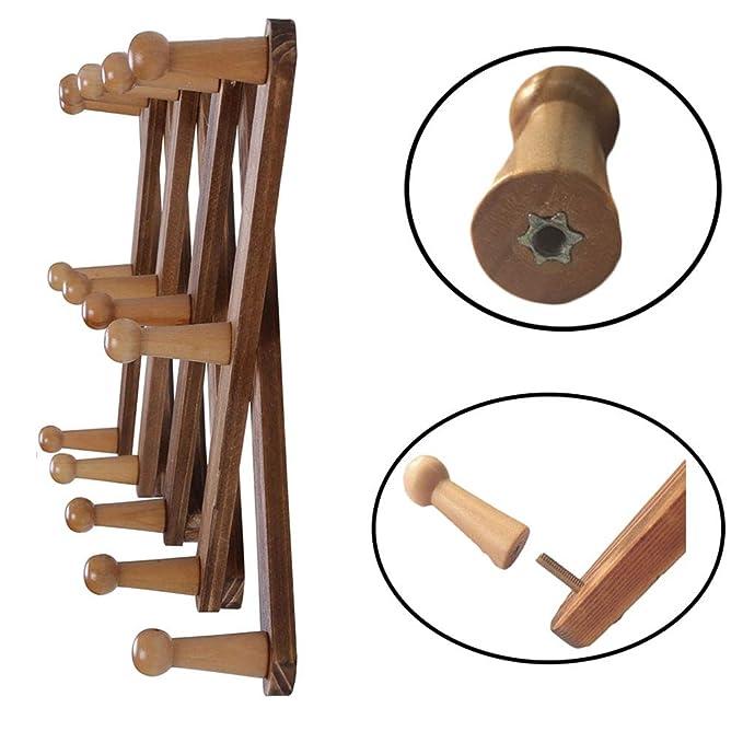 Amazon.com: OROPY Perchero de madera extensible montado en ...