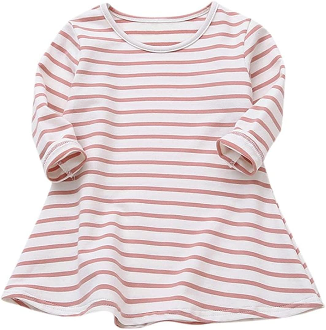 Vinjeely Toddler Baby Girls Candy Color Long Sleeve Striped Princess Casual Dress Fall Outfits