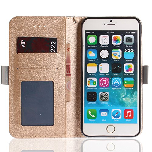 Slots Premuim Case With Pu 6s Leather Magnetic Flip 5 Strap Card Shockproof Pattern Iphone Stand Soft Wallet gold Handmade Plus 6 Silicone herzzer Classic Color Butterfly For Plus OgRgAfq